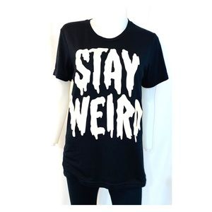 Stay weird black tee size small